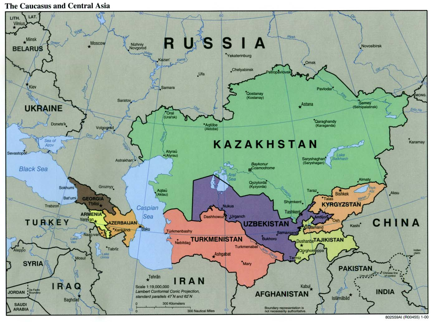 The Caucasus and Central Asia Political Map 2000